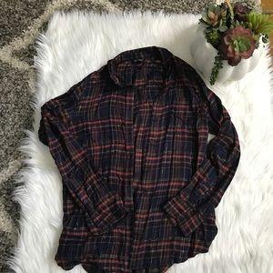 Lucky Brand Plaid Button Up Super Soft Size Medium